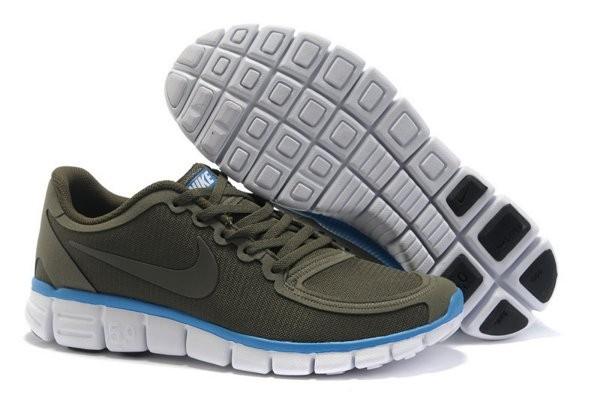 buy popular f72f7 0f13b Nike Free 5.0 V4 Chaussures de Course Pied pour Homme Brun Foncé Bleu Blanc