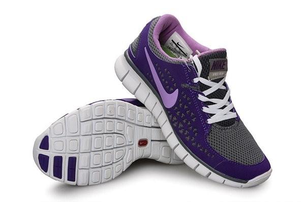 san francisco 3c5db 4009e Nike Free Run+ Chaussures de Course Pied Pour Homme Gris Foncé Violet Foncé  Rose