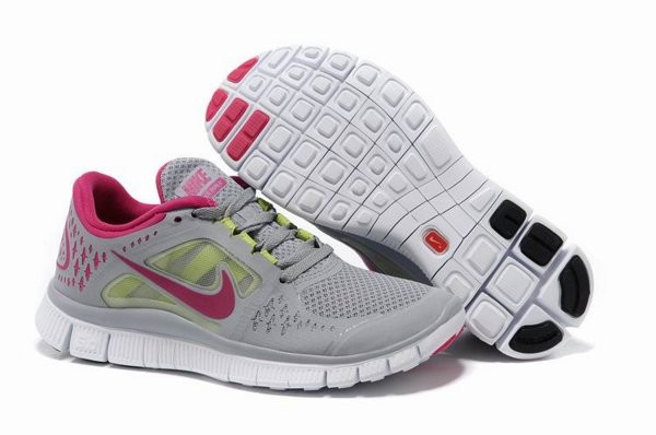 best sneakers a2488 ae080 Nike Free Run+ 3 Chaussures de Course Pied Pour Femme Gris Rouge Blanc